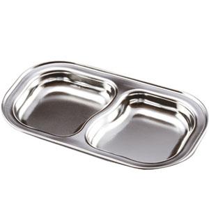 간식접시/2구접시(깊은것)/스테인레스 간식접시