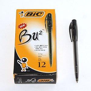 볼펜-Bu2/빅뷰2/BIC 볼펜/Bu2(흑색)/노크식 볼포인트 0.7mm(12개입)