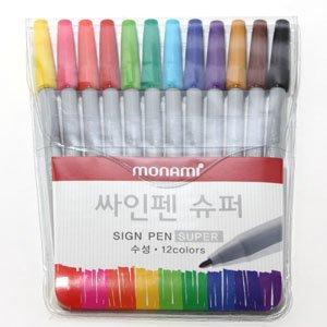 모나미 슈퍼싸인펜 12색(수성싸인펜)