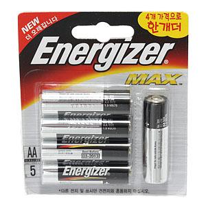 에너자이저 건전지/알카라인 건전지(AA5)MAX 4개가격으로하나더