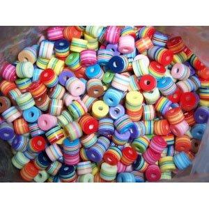 만들기재료/꾸미기재료/구슬공예/아크릴구슬/원형통줄무늬 500g