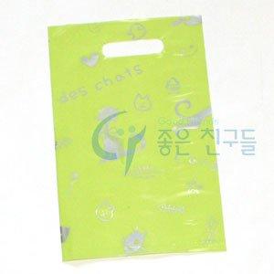 좋은친구들 비닐쇼핑백/링타입 비닐쇼핑백(15x23)100장-팬시봉투그린