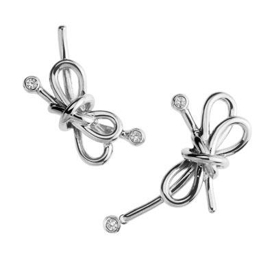 SecretStone Asymmetric Ribbon Earring _White Sapphire