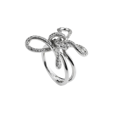 SecretStone Ribbon Flower Ring _White Sapphire