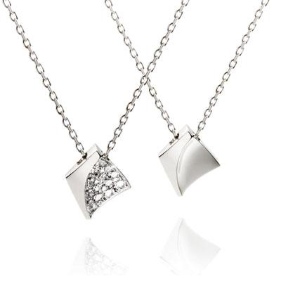Crystalloid I 결정 커플목걸이(소+소) 14k_WG white zircon & Flat