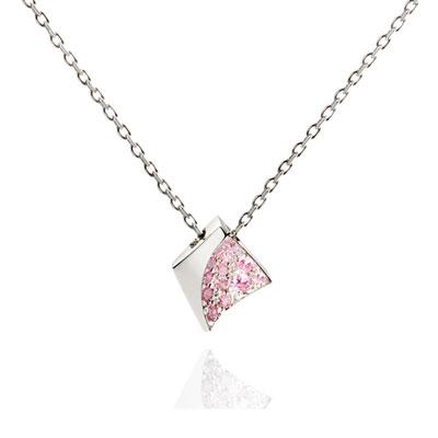 Crystalloid I 결정 목걸이 (소) 14k_WG pink zircon