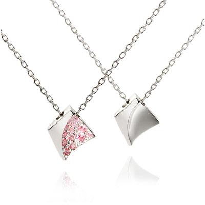 Crystalloid I 결정 커플목걸이(소+소) 14k_WG pink zircon & Flat