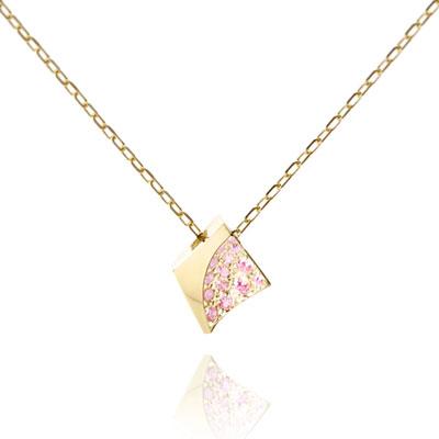 Crystalloid I 결정 목걸이 (소) 14k pink zircon