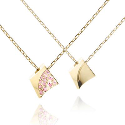 Crystalloid I 결정 커플목걸이(소+소) 14k pink zircon & Flat