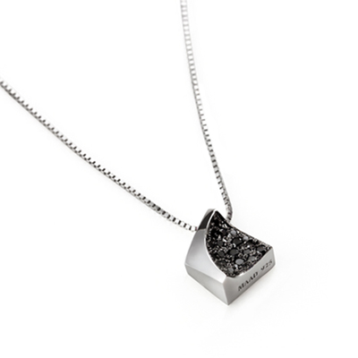 Crystalloid 결정 목걸이 (중) black zircon