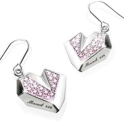 Ice heart 아이스하트 고리 귀걸이 pink zircon