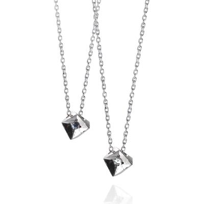 Crystalloid III 결정III 커플목걸이 blue & white zircon