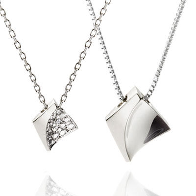 Crystalloid I 결정 커플목걸이(소+중) white zircon & Flat