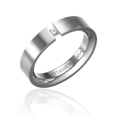 TitaniumGold 게르만헤로스 텐션밴드 티타늄반지 (5mm)_Titanium & Cubic zirconia