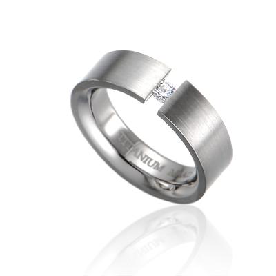 TitaniumGold 게르만헤로스 텐션밴드 티타늄반지 (6mm)_Titanium & Cubic zirconia