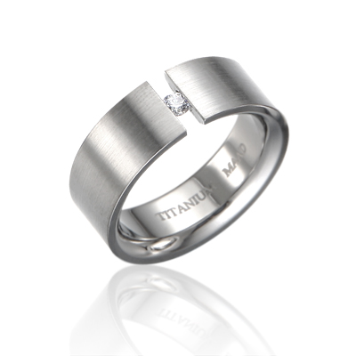 TitaniumGold 게르만헤로스 텐션밴드 티타늄반지 (8mm)_Titanium & Cubic zirconia