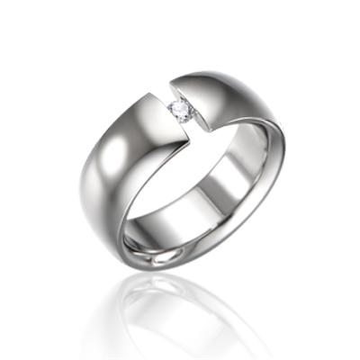 TitaniumGold 잉글리쉬헤로스 텐션밴드 티타늄반지 (8mm)_Titanium & Cubic zirconia