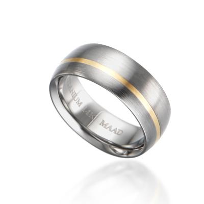 TitaniumGold 잉글리쉬 인레이드밴드 티타늄반지_1L (7.5mm)_Titanium & Gold_14k