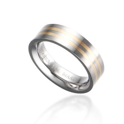 TitaniumGold 게르만 인레이드밴드 티타늄반지_2L (6mm)_Titanium & Gold_14k