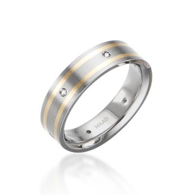 TitaniumGold 게르만 로열 인레이드밴드 티타늄반지_2L (6mm)_Titanium & Gold_14k, Cubic zirconia_6ea