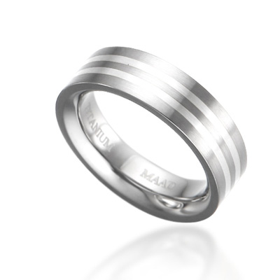 TitaniumSilber 게르만 인레이드밴드 티타늄반지_2L (6mm)_Titanium & Silver