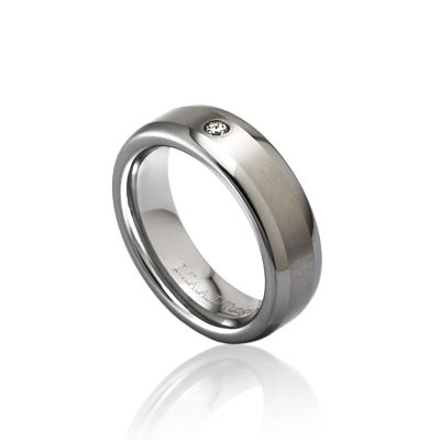 TungstenGold 스위드쉬디우스 심플밴드 텅스텐반지_Satin (6mm) Tungsten & White Gold bezel, Cubic zirconia