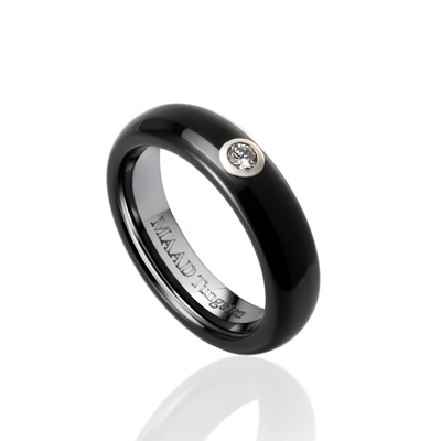 TungstenGold 잉글리쉬디우스 심플밴드 텅스텐반지 (5mm) Tungsten(Black PVD) & Silver Bezel, Cubic zirconia