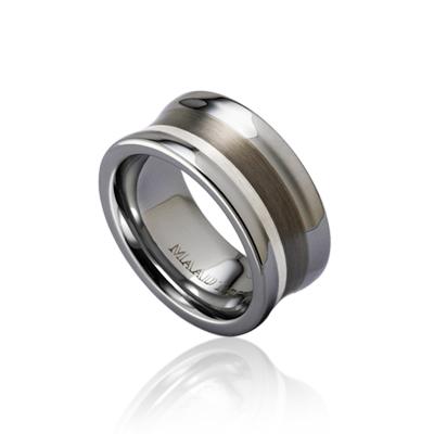 TungstenGold 컨케이브 인레이드밴드 텅스텐반지_Satin (9mm) Tungsten & Silver