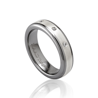 TungstenGold 스위드쉬로열 인레이드밴드 텅스텐반지_Satin (5mm) Tungsten & Silver, Diamond_0.015ct x 3ea