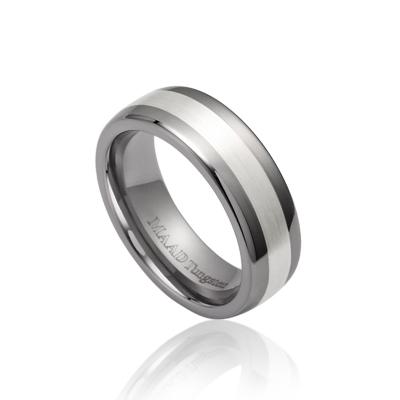 TungstenGold 스위드쉬 인레이드밴드 텅스텐반지_Satin (7mm) Tungsten & Silver