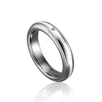 TungstenGold 잉글리쉬디우스 Platinum 인레이드밴드 텅스텐반지 (4mm) Tungsten & Platinum, Diamond_0.010ct