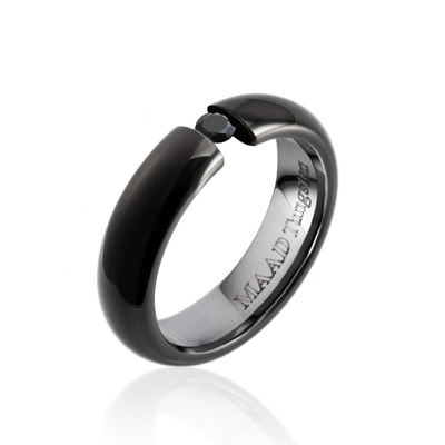 TungstenGold 잉글리쉬헤로스 텐션밴드 텅스텐반지 (5mm) Tungsten(Black PVD) & Black Cubic zirconia