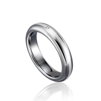 TungstenGold 잉글리쉬디우스 인레이드밴드 텅스텐반지 (4mm) Tungsten & Silver, Diamond_0.010ct