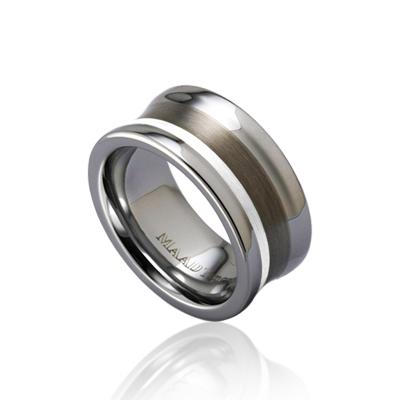 TungstenGold 컨케이브 Platinum 인레이드밴드 텅스텐반지_Satin (9mm) Tungsten & Platinum