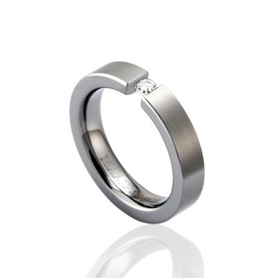 TungstenGold 게르만헤로스 텐션밴드 텅스텐반지_Satin (4mm) Tungsten & Cubic zirconia