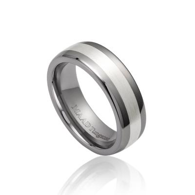 TungstenGold 스위드쉬 인레이드밴드 텅스텐반지_Satin (5mm) Tungsten & Silver