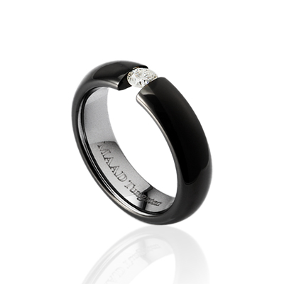TungstenGold 잉글리쉬헤로스 텐션밴드 텅스텐반지 (4mm) Tungsten(Black PVD) & Cubic zirconia