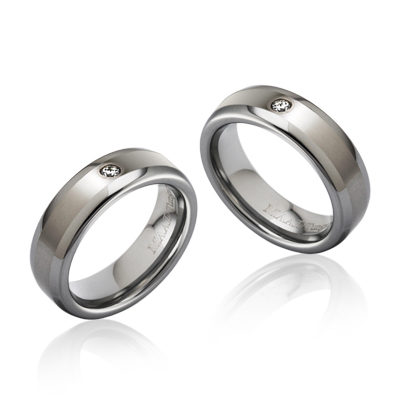 TungstenGold 스위드쉬디우스 심플밴드 텅스텐 커플링_Satin (6,6mm) Tungsten & White Gold bezel, Cubic zirconia