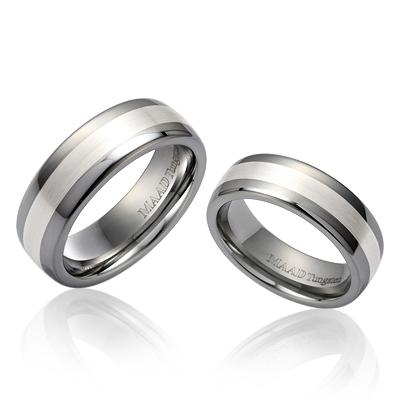 TungstenGold 스위드쉬 인레이드밴드 텅스텐 커플링_Satin (5,7mm) Tungsten & Silver