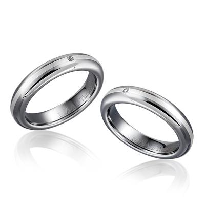 TungstenGold 잉글리쉬디우스 인레이드밴드 텅스텐 커플링 (4,4mm) Tungsten & Silver, Diamond_0.010ct