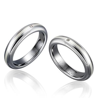 TungstenGold 잉글리쉬디우스 Platinum 인레이드밴드 텅스텐 커플링 (4,4mm) Tungsten & Platinum, Diamond_0.010ct