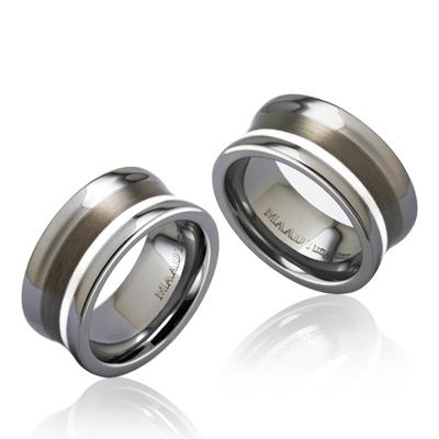TungstenGold 컨케이브 Platinum 인레이드밴드 텅스텐 커플링_Satin (9,9mm) Tungsten & Platinum