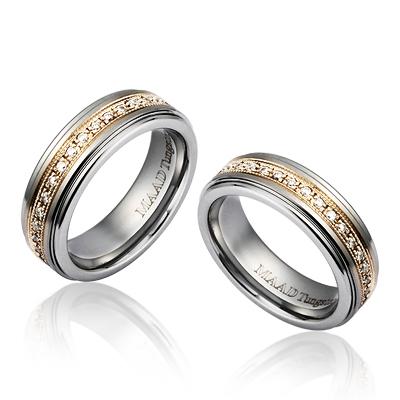 TungstenGold 그리크프린세스 Gold 인레이드밴드 텅스텐 커플링 (6,6mm) Tungsten & 14k, Cubic zirconia