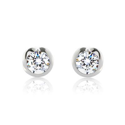 Maad Bridal Freesia 0.3ct Solitaire Earring 18k_WG