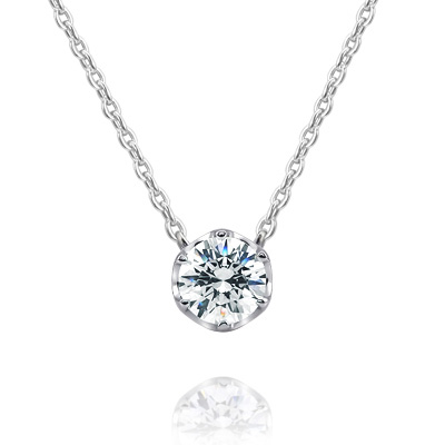 Maad Bridal Frise 0.3ct Solitaire Pendant 18k_WG