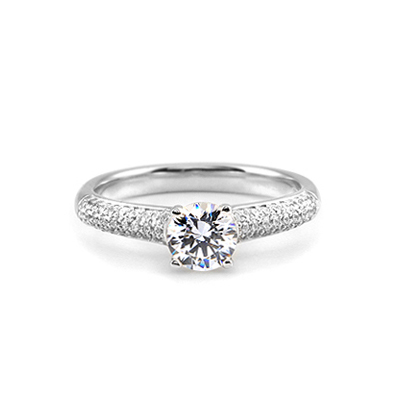 Maad Bridal Ariadne 0.5ct Solitaire & Micro paved Ring 18k_WG