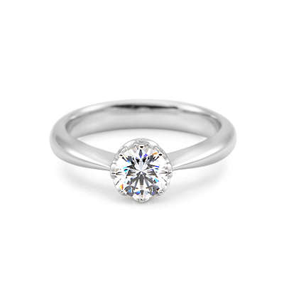Maad Bridal Frigg 0.5ct Solitaire & Paved bezel Ring 18k_WG