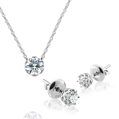 Maad Bridal Frise 0.3ct + 0.2ct Solitaire Wedding Set 18k_WG
