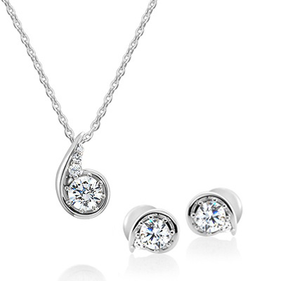 Maad Bridal Philia II 0.3ct + 0.2ct Wedding Set 18k_WG