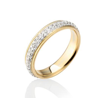 Goldschmuck 밀그레인 밴드링_4mm 14k Gold Combi white zircon